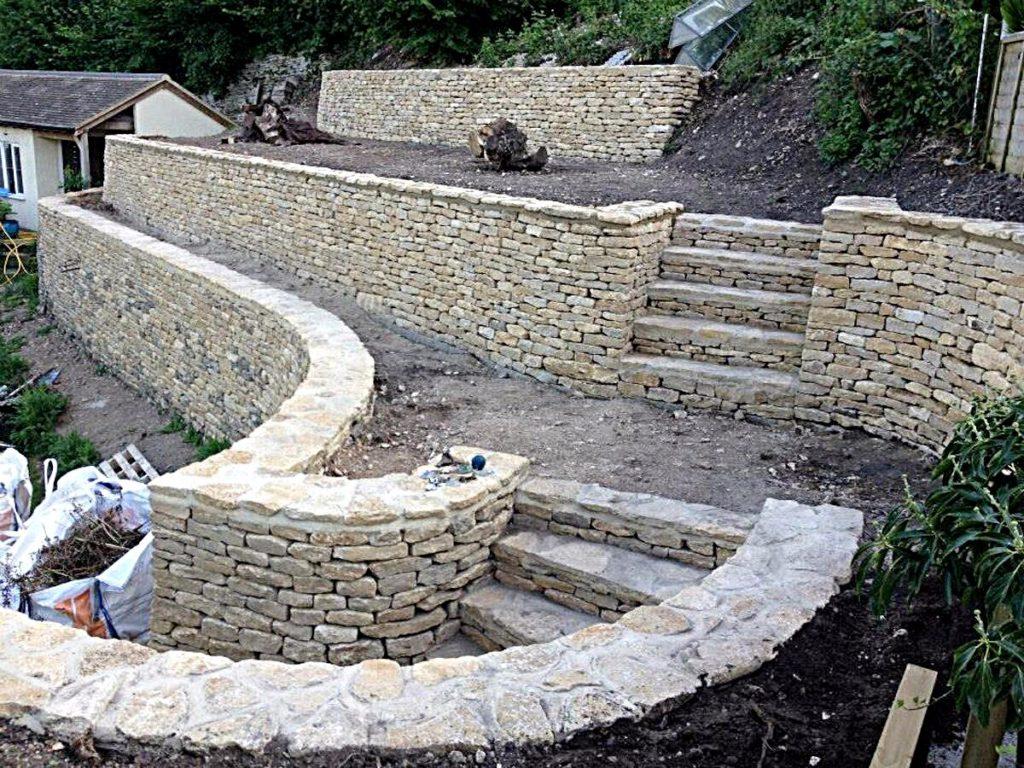 Retaining drystone walls create terrace areas