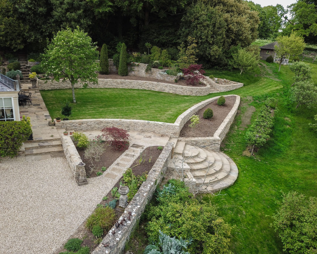 Free standing drystone walls, Retaining and raised bed drystone walls, stone steps and paving