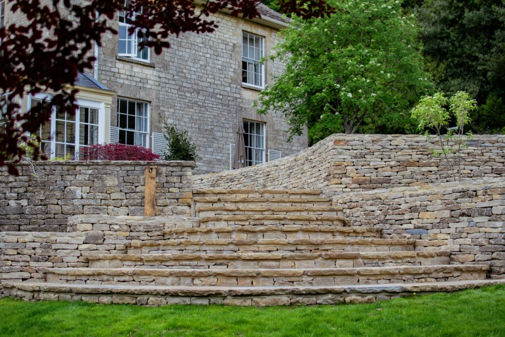 Drystone walls and curved stone steps